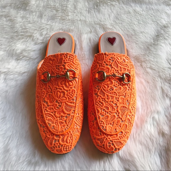 e1f6474aa90 Gucci Shoes - Gucci Orange Lace Princetown Loafer Mules